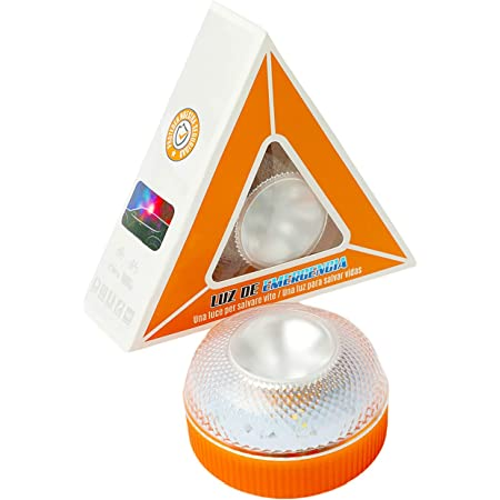 Luz de Emergencia, Señal V16 de Preseñalización de Peligro Homologada Luz de Avería Emergencia Magnética Led Luz Emergencia para Coches y Motocicletas (Orange, sin batería)