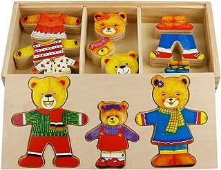 TONZE Rompecabezas Madera con Vestirse Osos Puzzles de Madera Niños 54 Piezas Juguetes niños 3 años