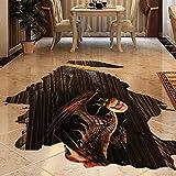 AUVS 3D Lebendige Tiere- Selbstklebende Abnehmbaren Durchbrechen Die Mauer Vinyl Wandsticker/Wandgemälde Kunst Aufkleber Dekorateur (8002E Floor Hell Dinosaurier(60 * 90cm))