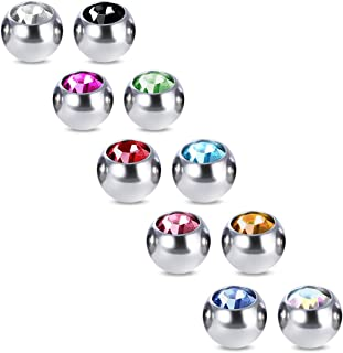 COTTVOTT 10pcs Crystals Screw 14G 16G Tongue Labret Eyebrow Horseshoe Belly Rings Earrings Replacement Balls Stainless Steel Piercings