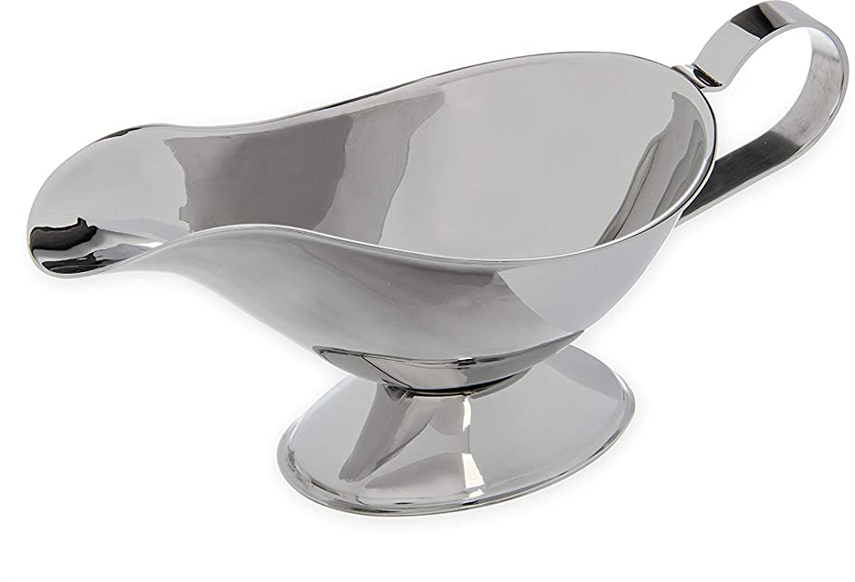 Stainless Steel Gravy Boat CHXIHome 3 oz Sauce Boat with Stand and Candle for Serving Gravy or Sauce at Restaurants & Cafes.