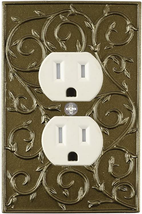 Meriville French Scroll Electrical Outlet Wall Plate Cover Hand Painted Single Duplex Receptacle Outlet Cover Aged Gold