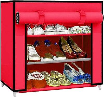 Ebee Foldable Shoe Rack with 3 Shelves (Pink)