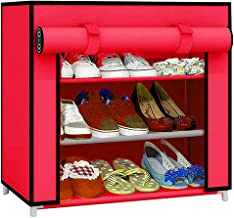 Ebee Metal and Fabric Foldable 3-Shelf Shoe Rack (60 cm x 30 cm x 35 cm, Pink)