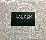 RALPH LAUREN 4 Piece King Sheet Set, Pastel Floral Paisley in Shades of Blue, Light Blue, Beige and Taupe on Off White, 100% Cotton
