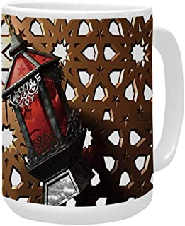 Lantern Ceramic Mug,Egyptian Fanoos in a 3D Style Realistic Illustration Moroccan Backdrop Design Decorative for Home,15OZ