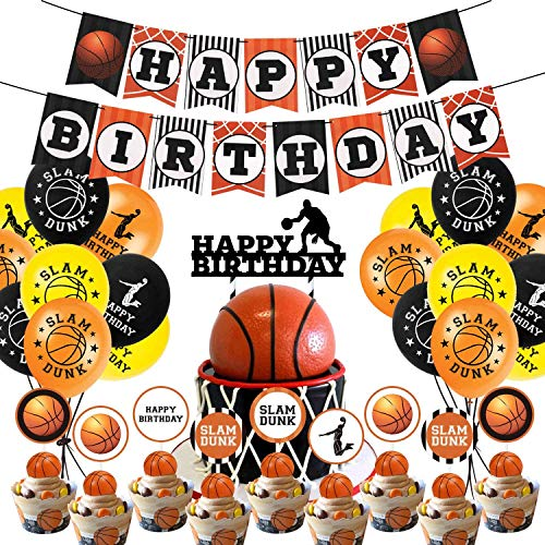 DSHHF Basketball Geburtstagsfeier Zubehör, Basketball Geburtstag Banner, Slam Dunk Party Dekoration Cake Topper und Luftballons für Kinder Teenager Sport Themenparty