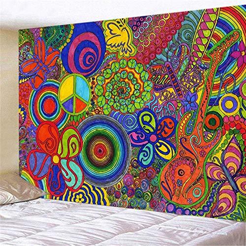 Tapiz moderno colorido hippie tapiz psicodélico, tapiz bohemio mandala (150 x 100 cm/150 x 130 cm/200 x 150 cm)