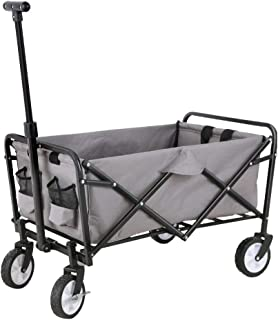 FA Sports Carromco Folding Outdoor Handcart Transport Trolley with Parking Brake, Grey