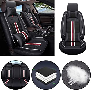 Jiahe Car Seat Cover for Dodge Charger Caliber Dart Universal Car Seat Protectors 5-Seat Full Set Artificial Leather Waterproof,Easy Install,Black red Deluxe