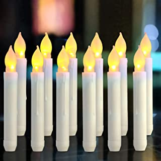 Homemory 12PCS Flameless LED Taper Candles Lights, 0.79 x 6.9 Inch, Battery Operated Tapered Candles with Warm Yellow Flickering Flame