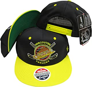 ZHATS Vancouver Canucks Black/Yellow Two Tone Plastic Snapback Adjustable Plastic Snap Back Hat/Cap