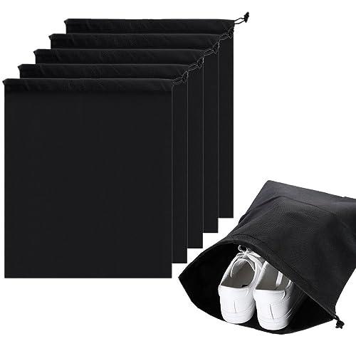Lictin 6pcs Travel Shoe Bags, Travel Shoe Organizer Storage Bags,Portable Non-Woven Breathable Drawstring Dust-proof Organiser Storage Bag Case for Shoes Boots(Black), 44 * 35cm