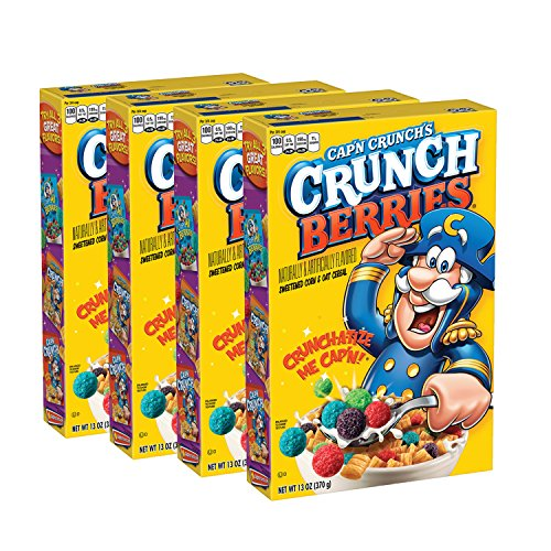 Cap'n Crunch, Crunchberries, 13 oz Boxes (4 Pack)
