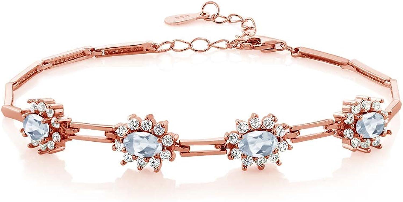 4.20 Ct Oval Sky bluee Topaz 18K pink gold Plated Silver Bracelet