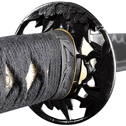 Handmade Sword - Samurai Wakizashi Sword, Functional, Hand Forged, 1095 Carbon Steel, Clay Tempered, Full Tang, Sharp, Bamboo Pattern Tsuba, Black Wooden Scabbard, Sword Certificate