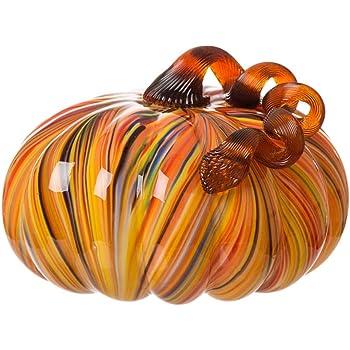 Glitzhome 6.5 Inch Hand Blown Rainbow Striped Glass Pumpkin Table Accent