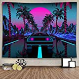 Ine Ive Futuristic Tapestry 1980s Science Fiction Super Sports Car Tapestry Forest Tapestry Road Tapestry Suitable for Home Decoration Art Tapestry for Bedroom Living Room Cormitory Apartment 80*60 In GTLTIE582