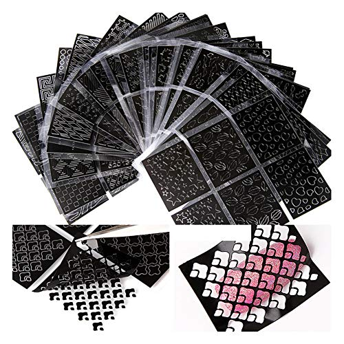 Rabusion Health For 24 Pcs/set 3D Hollow Nail Stamper Nail Art Sticker Decals Nails Art Tools