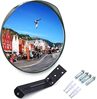 MEETWARM 24 Inch Convex Security Mirror Curved Safety Mirror with Adjustable Fixing Bracket for Indoor Outdoor, Office Warehouse Driveway Garage Store