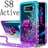 Silverback Galaxy S8 Active Case, Moving Liquid Holographic Glitter Case with Kickstand, Bling Diamond Rhinestone Bumper W/Ring Slim Protective Samsung Galaxy S8 Active Case for Girls Women -Purple