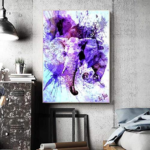 ganlanshu Rahmenlose Malerei Tierkunst Elefantenkopf Aquarell Leinwand Malerei Wohnzimmer Dekoration Malerei WandkunstZGQ5716 40X60cm
