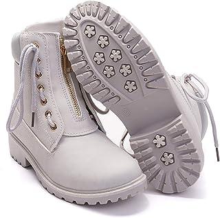 Women's Round Toe Waterproof Ankle Bootie Lace Up Low Heel Work Combat Boots