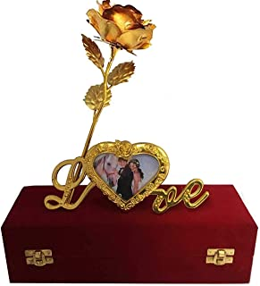 Msa Jewels Gold Plated Gold Rose with Gift Box and with Love Stand with Photo Frame for Loved Ones