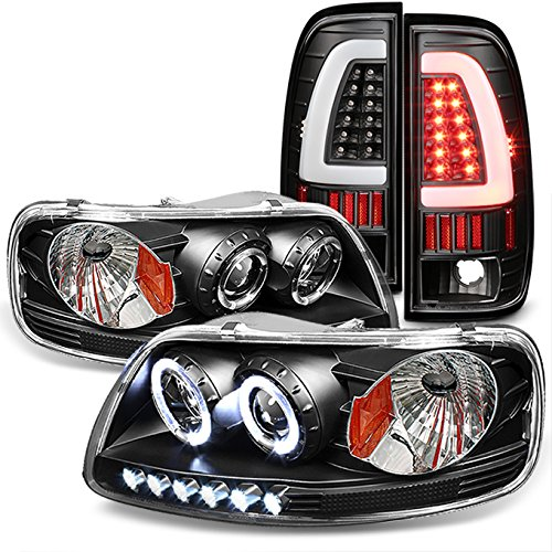 For 1997-03 Ford F-150 | 2004 F150 Heritage| 1997-99 F-250 Light Duty Black LED Headlights & Tail Lights
