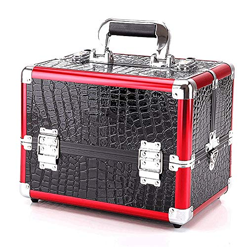 Cas Cosmétique Aluminium Cosmétique Cas Palette De Maquillage Professionnel Maquillage Crocodile Vanity Box Ongles Sponsorisés Maquillage Voyage Boîte De Rangement (Color : Black+Red(M))