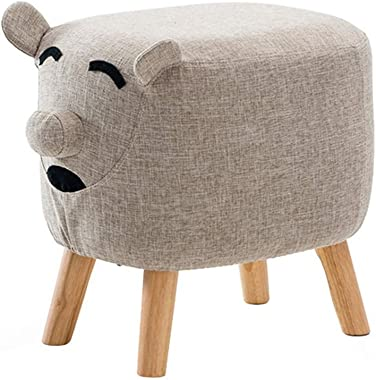 Solid Wood Children's Footstool Upholstered Ottoman Seatting Stool Change Shoe Stool with Wooden 4Legs