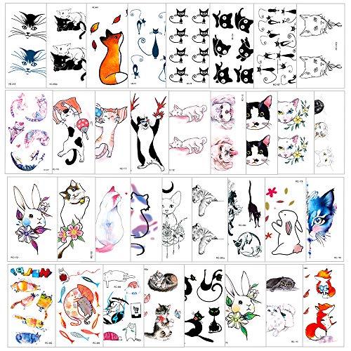 Phogary 90 piezas 34 hojas Tema de mascotas de gato Tatuajes temporales...