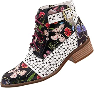 Aunimeifly Ladies Ankle Boots Autumn Women Ink Floral Pattern Cow Leather Metal Buckle Splicing Lace Up Ankle Boot