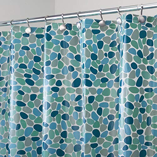 "mDesign Decorative Pebble Print - Water-Resistant, Heavy Duty PEVA Shower Curtain Liner, for Bathroom Showers, Stalls and Bathtubs - 72"" x 72"" - Blue"
