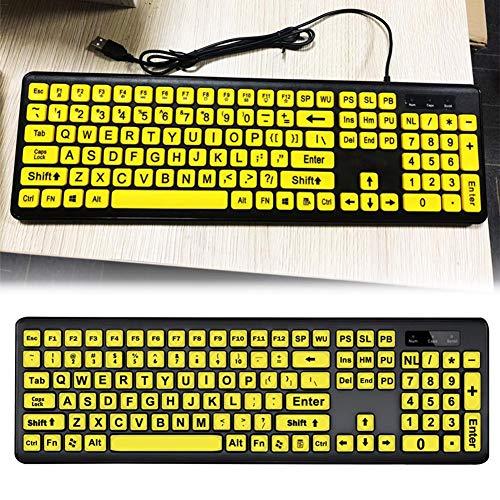 chinejaper USB-bekabeld groot computertoetsenbord met gele toetsen en zwarte letters, bekabelde USB-toetsenborden voor slechtzienden met beperkt gezichtsvermogen