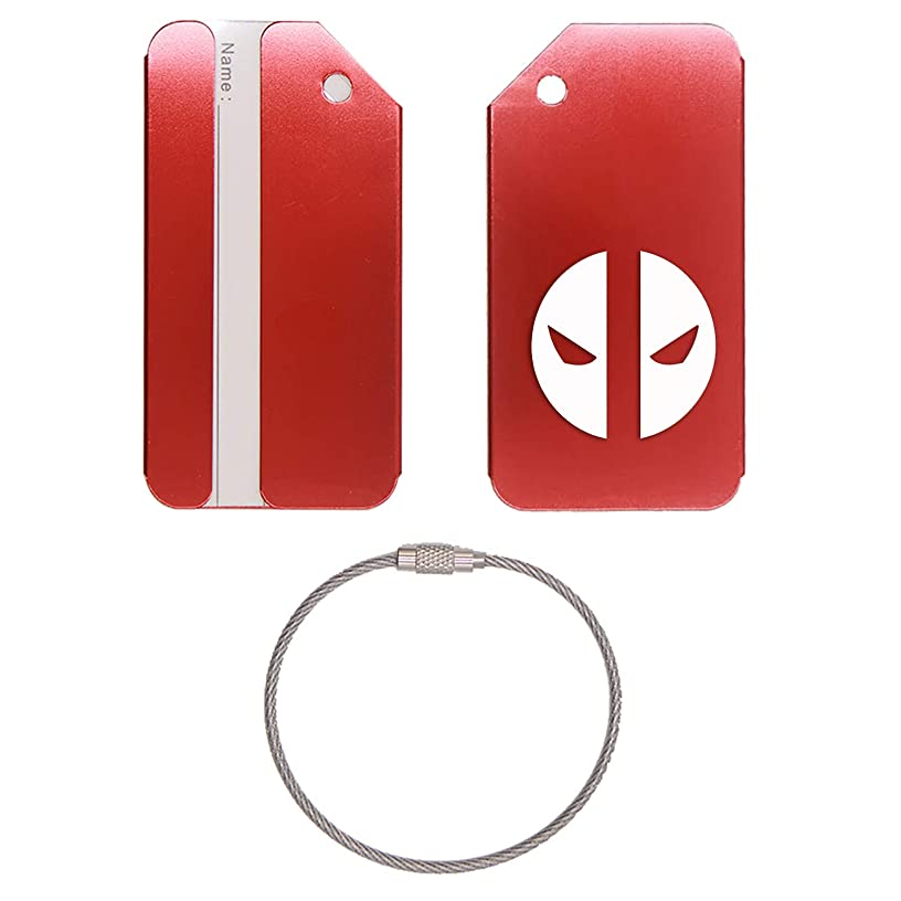 THE DEADPOOL STAINLESS STEEL - ENGRAVED LUGGAGE TAG - SET OF 2 (SCARLET RED) - UNITED STATES MILITARY STANDARD - FOR ANY TYPE OF LUGGAGE, SUITCASES, GYM BAGS, BRIEFCASES, GOLF BAGS