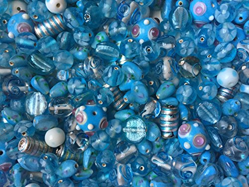 75 Grams Of Cocoa's Premium Bumpy Dot Beads Lampwork Collection, Variety of Colors and Sizes 8mm-24mm Small to Large (Fancy Turquoise) Dots Lampwork Glass Bead