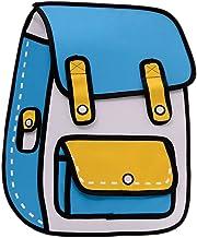 Flyfish 3D Jump Style Dibujo 2D de Cartoon Paper Comic Backpack School Shoulder Bag (A)