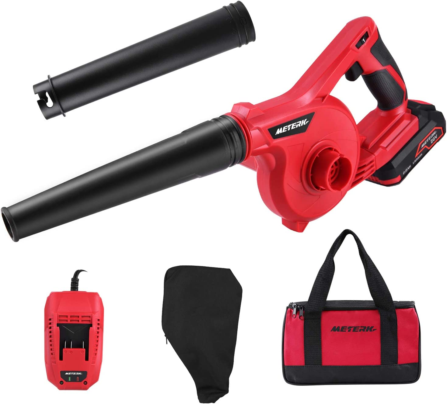 Meterk Cordless Leaf Blower 20V 2.0 Ah Lithium-ion Battery&Quick Charger , 150MPH, 3 Gear Variable Speed, Mini Lightweight Cordless Blower