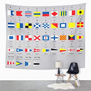Llsty Tapestry International Maritime Signal Nautical Flags Morse 60x80 Inches Polyester Suitable for Dormitory Living Room Bedroom Home Wall