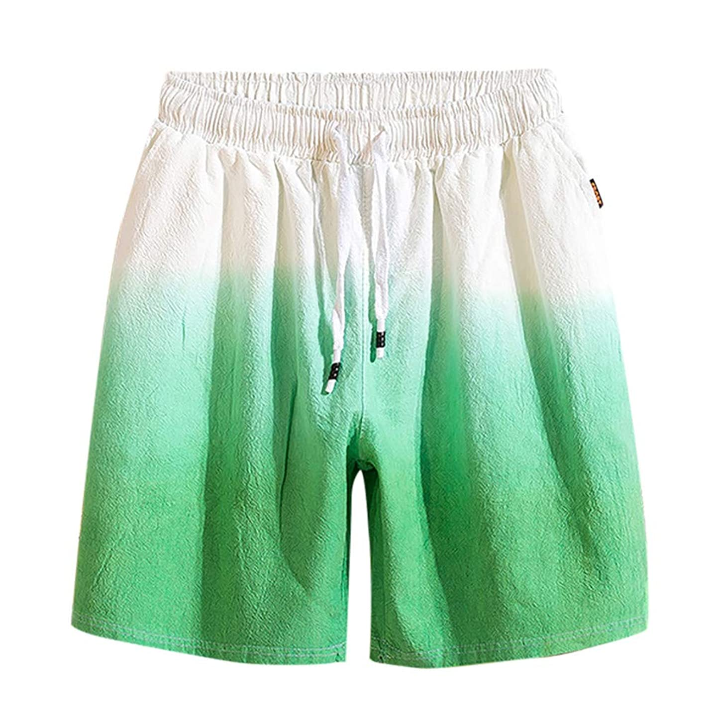 LUCAMORE Men's Gradient Cotton Linen Shorts Elastic Waist Drawstring Outdoor Training Running Shorts