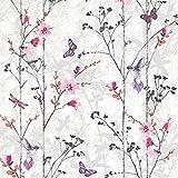 102550 - Novedades Eden Mariposas Rosadas metálico Wallpaper