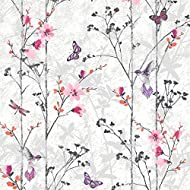 Design has an oriental feel with birds and butterflies, the leaves have a metallic element Suitable for living rooms, dining rooms and bedrooms Full preparation and hanging instructions are included with each roll