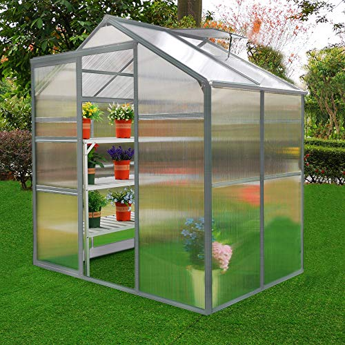 Greenhouse Polycarbonate, Clear, Aluminium Frame, Silver, Growhouse with Window & Sliding Door 6ft x...