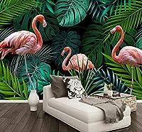 Wkxzz 壁の背景装飾画 カスタム壁画壁紙熱帯雨林フラミンゴガーデンリビングルームソファ背景壁絵画-400X280Cm
