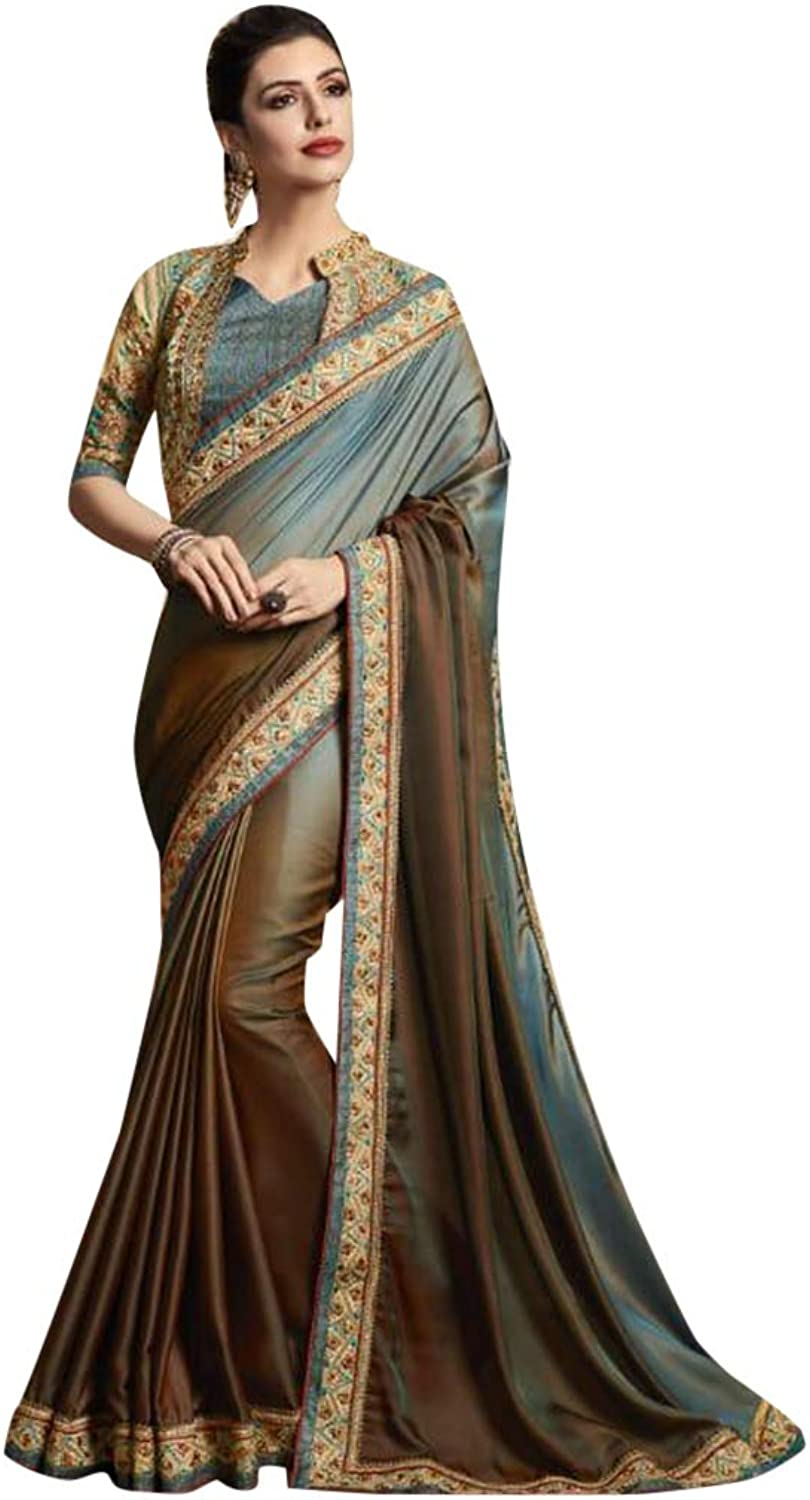 Indian Ethnic Shady Jari Embroidery Sari And Blouse Designer Collection Women Stylish Party Wear 7274