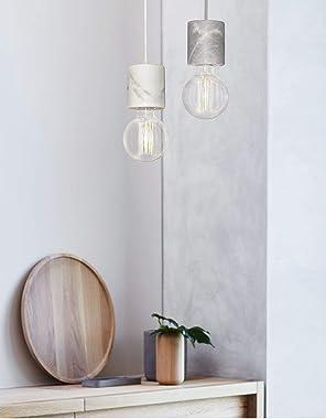 Beacon Lighting Flair 1 Light Pendant in White Marble
