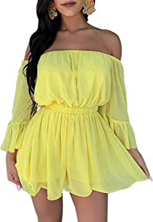 yellow off the shoulder romper