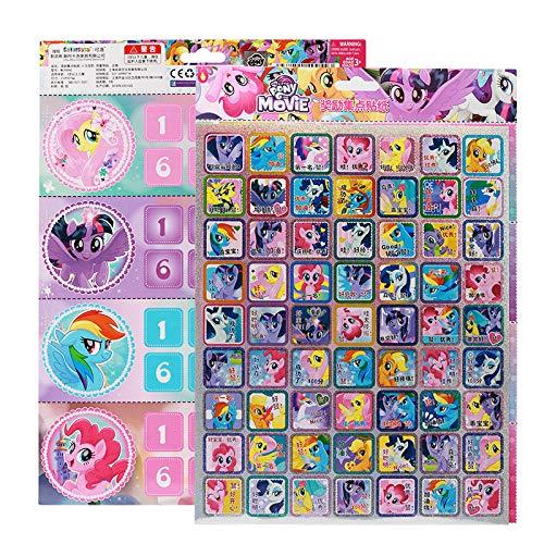 BLOUR My Little Pony Girls DIY Cartoon Reward Stickers Set Card Kindergarten Stickers para niños Regalo Promocional