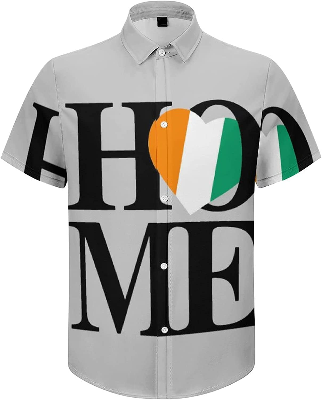 Hawaiian Shirts for Men Ireland Flag Heart Home Printed Beach Shirt Hawaiian Shirts